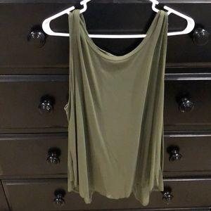 Open back army green tank top